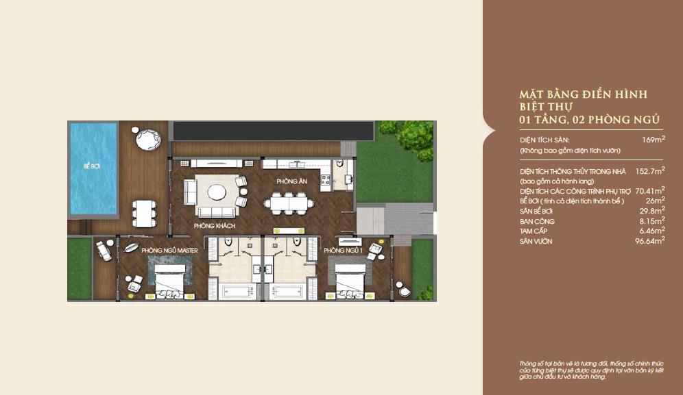 Mặt bằng biệt thự biển Vinpearl Nha Trang căn 1 tầng, 2 phòng ngủ