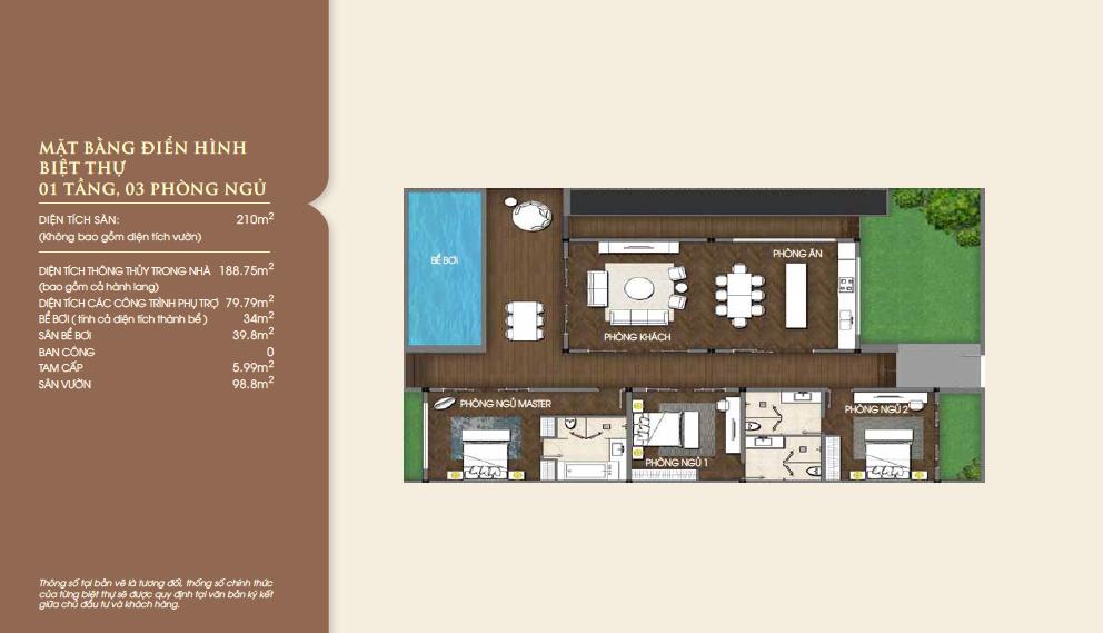 Mặt bằng biệt thự biển Vinpearl Nha Trang căn 1 tầng, 3 phòng ngủ