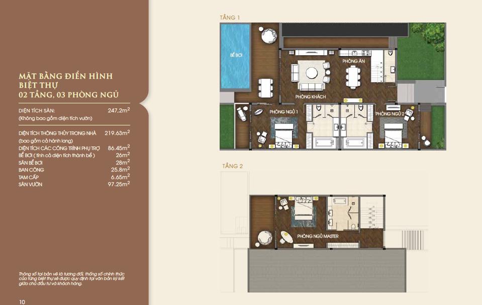 Mặt bằng biệt thự biển Vinpearl Nha Trang căn 2 tầng, 3 phòng ngủ