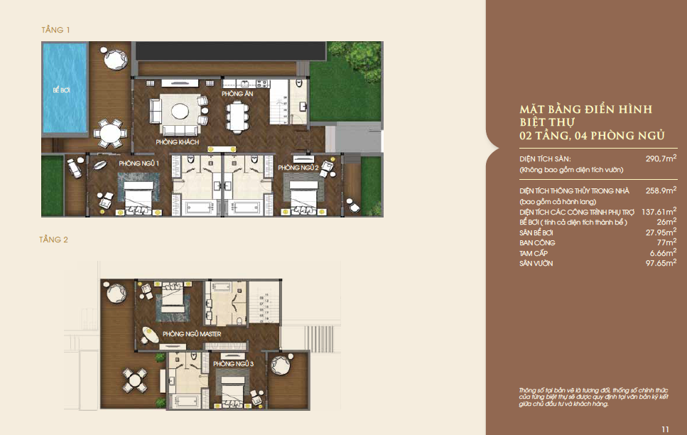 Mặt bằng biệt thự biển Vinpearl Nha Trang căn 2 tầng, 4 phòng ngủ